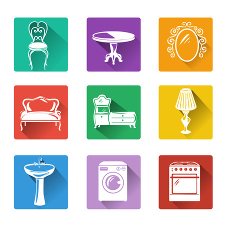 furnishing: flat icons of furniture and equipment for the home. vector illustration Illustration