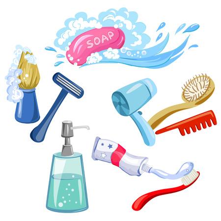 bathroom cartoon: hygiene, personal care, items. vector illustration