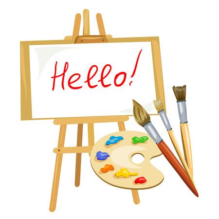 illustratie met schildersezel, palet van verf en borstels. vector illustratie