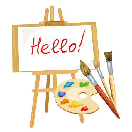 artist's canvas: illustration with easel, palette of paints and brushes. vector illustration
