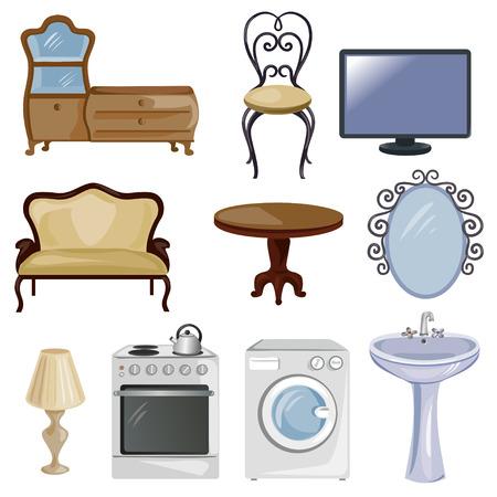 set van meubilair en apparatuur voor het huis. vector illustratie