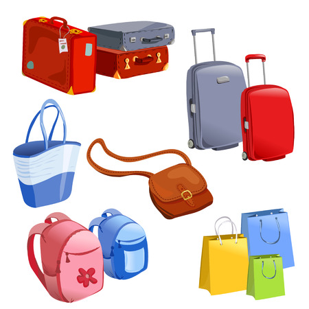 leather bag: set of luggage, suitcases, backpacks, packages. vector illustration