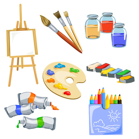 soumis: ensemble de sujets pour l'artiste. illustration vectorielle
