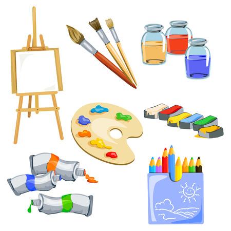 set van onderwerpen voor de kunstenaar. vector illustratie