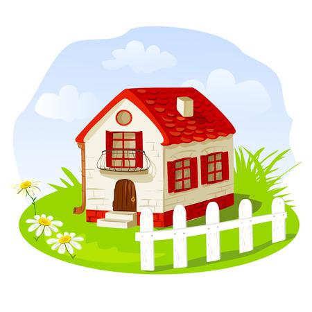 cottage garden: Vintage house on a summer lawn. vector illustration Illustration
