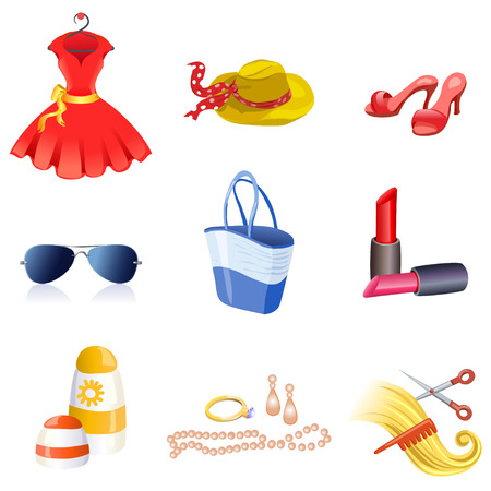Womens accessories icons. vector illustration Vector