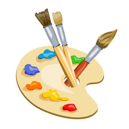 brushes and palette with paints. vector illustration Ilustração