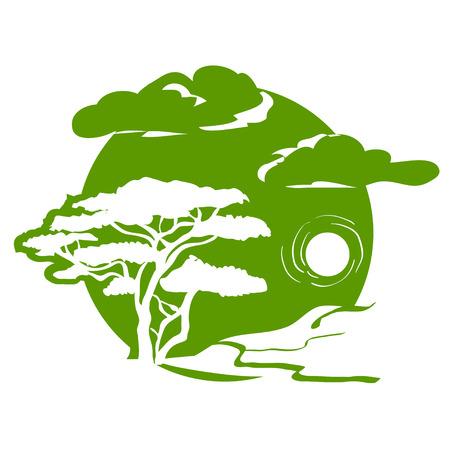 Emblème avec l'arbre et le paysage. illustration vectorielle Banque d'images - 32560661