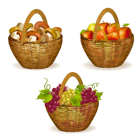 grapes and mushrooms: set of wicker baskets with fruits, mushrooms. vector illustration