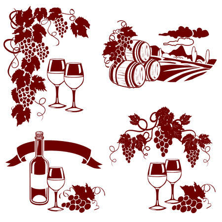 red grape: set of wine logos, imprint. vector illustration