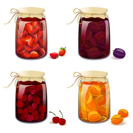 tinned: set with tinned fruits and berries. vector illustration