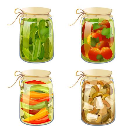 pickled: set with tinned vegetables. vector illustration
