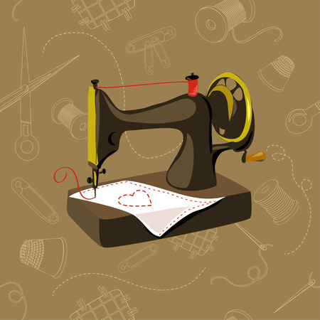 sewing machine, seamless, sewing items. vector illustration Vector