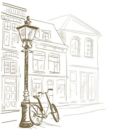 lijntekening: schetsen Europese straten. vector illustratie Stock Illustratie