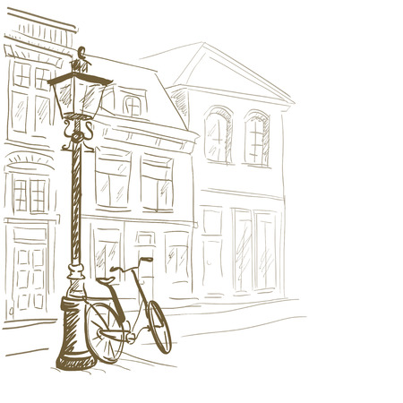 life line: sketch European streets. vector illustration