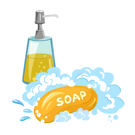 foam hand: soap foam, shower gel, isolated. vector illustration