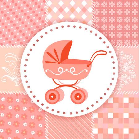 baby birth: baby pram on a patchwork background. vector illustration