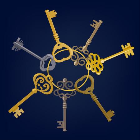 keys isolated: manojo de llaves de la vendimia aislado. ilustraci�n vectorial