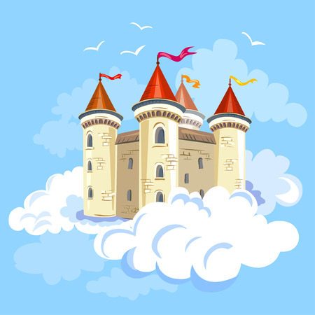 fairy castle in the air in the clouds. vector illustration