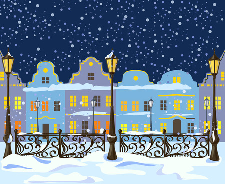 city by night: night winter city with lanterns. vector illustration Illustration