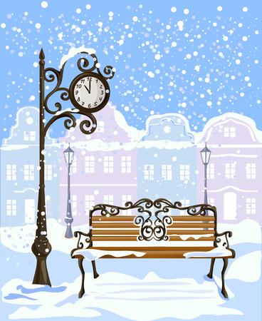 winter uitzicht op de stad met een straat klok en bank. vector illustratie