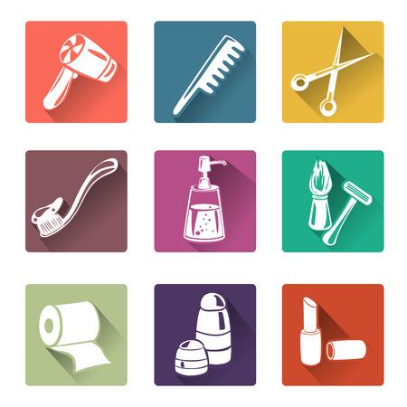 flat icons personal care. vector illustration