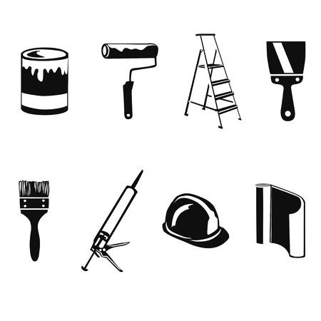 アイコンの家の修理のシルエット。ベクトル イラスト