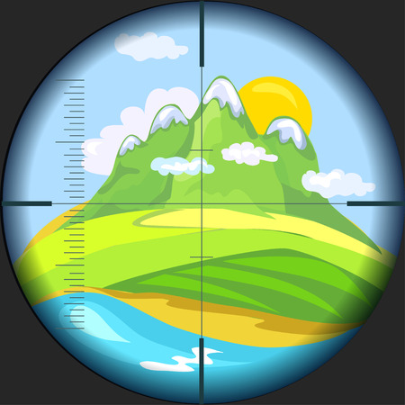 top gun: mountain view through the telescope. vector illustration Illustration