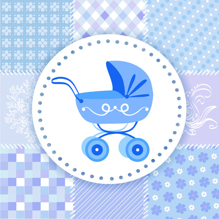 baby birthday: pram on a patchwork background. vector illustration