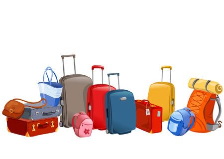 荷物、スーツケース、バックパック、パッケージ イラスト  イラスト・ベクター素材
