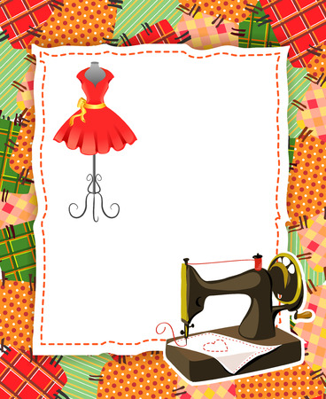 card with patchwork and sewing elements. vector illustration