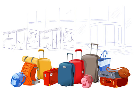 luggage airport: different luggages on the background of the airport illustration Illustration