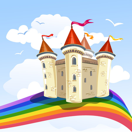castle cartoon: fairy tale castle in the clouds and a rainbow