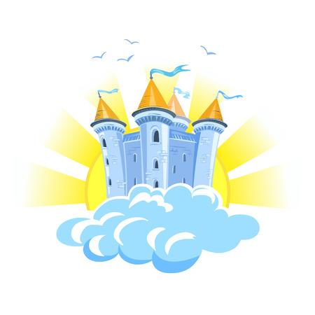 Märchenschloss in den Wolken mit der Sonne. Vektor-Illustration Lizenzfreie Bilder - 34247741