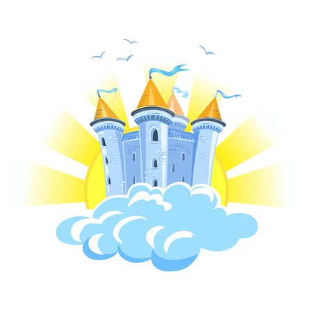 sprookje kasteel in de wolken met de zon. vector illustratie