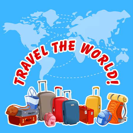 cartoon world: illustration with suitcases and map of the world illustration