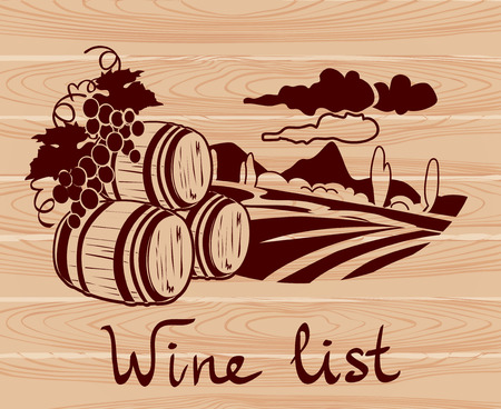 winemaking: banner with winemaking on a wooden background. vector illustration