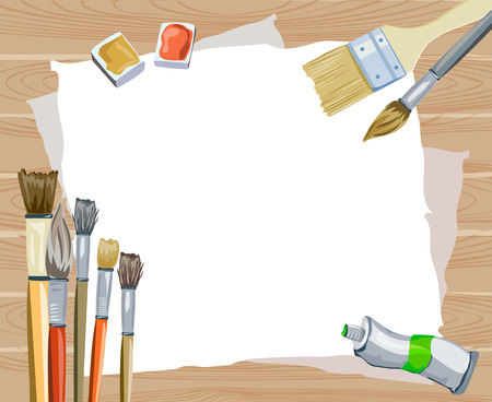 art supplies: creative wooden background with brushes. vector illustration Illustration