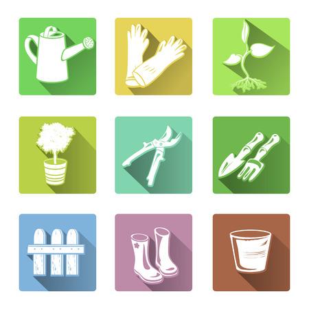garden tool: flat icons garden tools. vector illustration Illustration