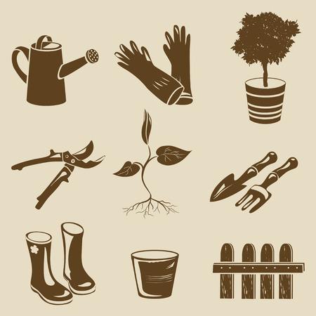 kompost: Symbole Gartenger�te Silhouette. Vektor-Illustration Illustration
