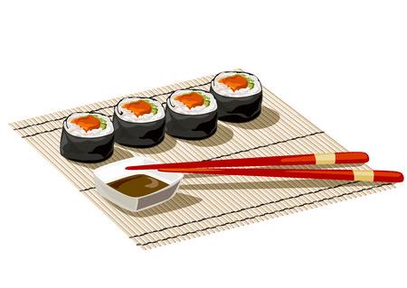 bamboo mat: Japanese rolls on a bamboo mat. vector illustration