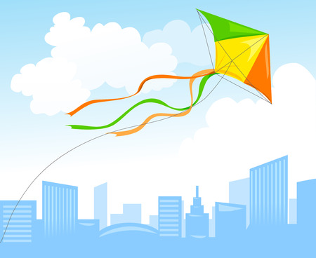 kite flying: kite and city skyline. vector illustration