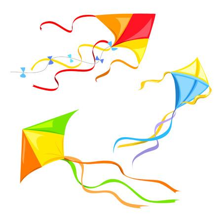 set van verschillende vliegers geïsoleerd. vector illustratie