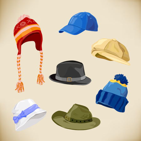 panama hat: set of different styles of hats. vector illustration
