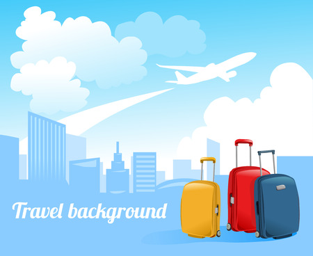 airplane travel: travel background with airplane and city skyline. vector illustration Illustration