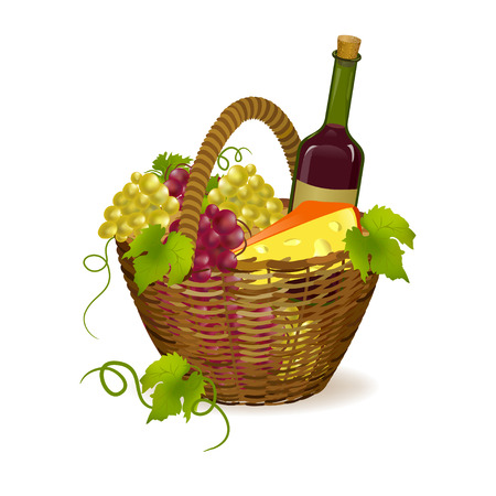 wicker basket with wine products. vector illustration