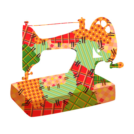 maquinas de coser: coser retazos m�quina. ilustraci�n vectorial