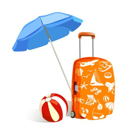 sonnenschirm: Koffer mit Elementen der Reise und Sonnenschirm. Vektor-Illustration