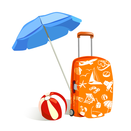 sun umbrella: suitcase with elements of travel and sun umbrella. vector illustration