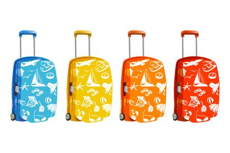 valigia: set di valigia con gli elementi del viaggio. illustrazione vettoriale Vettoriali